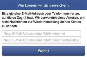 Facebook-Autorisierung-Passwort-Email-Vergessen