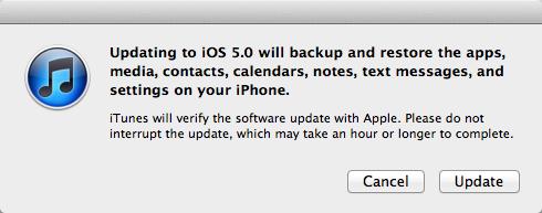 iTunes Meldung beim Update