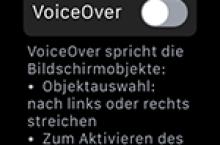 VoiceOver auf der Apple Watch aktivieren oder deaktivieren