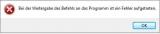 Bei der Weitergabe des Befehls ist ein Fehler – Excel 2010 – Windows 7