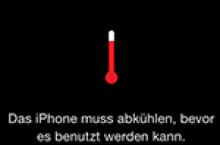 Warnung: Das iPhone muss abkühlen, bevor es benutzt werden kann
