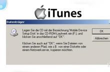 Update Meldung: Mobile Device Setup Disk einlegen – iPhone, iPod, iPad, iTunes unter Windows